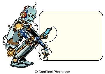 robot, siada, telefon