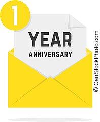 rocznica, żółty, 1, litera, rok, ikona