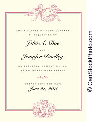 rocznik wina, ślub, wektor, amorek, zaproszenie