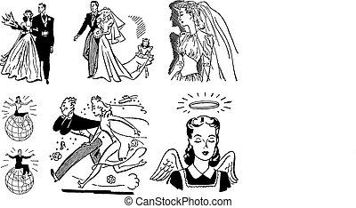rocznik wina, ślub, wektor, grafika