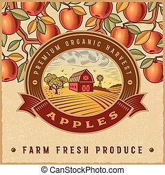 rocznik wina, żniwa, jabłko, barwny, etykieta