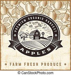 rocznik wina, żniwa, jabłko, etykieta