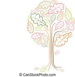 rocznik wina, abstrakcyjny, drzewo, rysunek