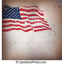 rocznik wina, amerykanka, textured, bandera, tło.