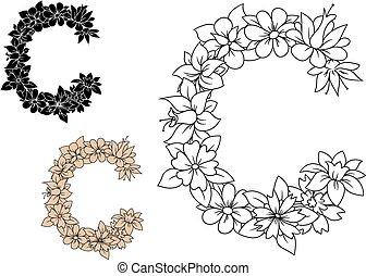 rocznik wina, c, kwiaty, litera, kapitał