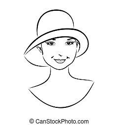 rocznik wina, dziewczyna, kapelusz, twarz
