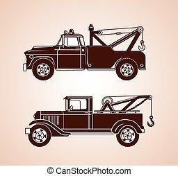 rocznik wina, holowanie, ciężarówki