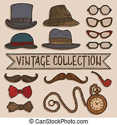 rocznik wina, kapelusze, komplet, okulary