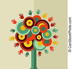 rocznik wina, koło, drzewo, barwny, ręka