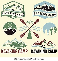 rocznik wina, komplet, etykiety, kayaking, obóz