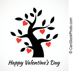 rocznik wina, list miłosny, drzewo, czarnoskóry, valentin, serca, icon., dzień, czerwony