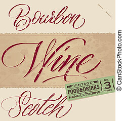 rocznik wina, nagłówki, menu, komplet, (vector)