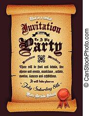rocznik wina, pergamin, zaproszenie