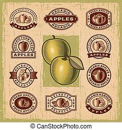 rocznik wina, pieczęcie, komplet, jabłko