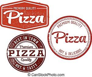 rocznik wina, pieczęcie, pizza, menu