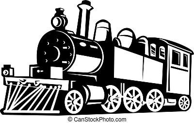 rocznik wina, pociąg, czarnoskóry, zrobiony, biały, para