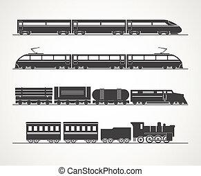 rocznik wina, pociąg, nowoczesny, sylwetka, zbiór