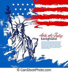 rocznik wina, ręka, amerykanka, 4, projektować, tło, flag., pociągnięty, lipiec, dzień, niezależność