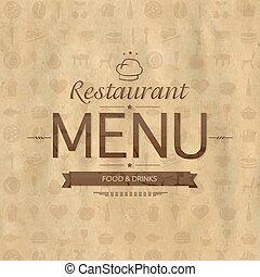 rocznik wina, restauracja, projektować, menu