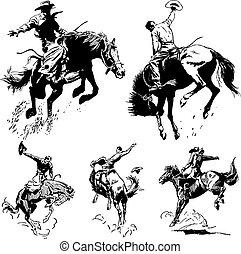 rocznik wina, rodeo, wektor, grafika