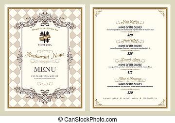 rocznik wina, styl, restauracja, projektować, menu