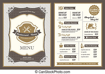 rocznik wina, ułożyć, restauracja, projektować, menu