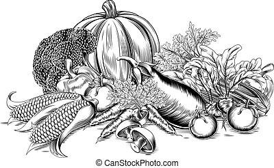 rocznik wina, warzywa, retro, drzeworyt