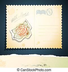 rocznik wina, wektor, kartka pocztowa