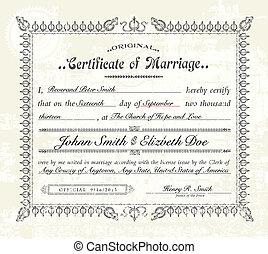 rocznik wina, wektor, małżeństwo, świadectwo.