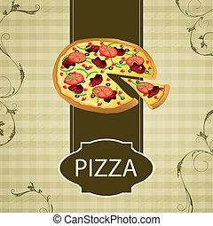 rocznik wina, wektor, pizza, karta, menu