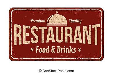 rocznik wina, zardzewiały, restauracja, metal znaczą