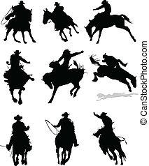 rodeo, koń, silhouettes., il, wektor
