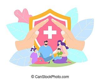 rodzic, hospital., ochrona, klinika, pojęcie, bezpieczny, rodzina, wektor, dzieci, illustration., życie ubezpieczenie, zdrowie