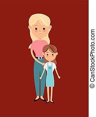 rodzic, jednorazowy, wizerunek, rodzina