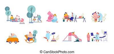 rodzice, odwiedzając, samiec, litery, playground., doktor, interpretacja, przygotowywać, dziecko, komplet, samica, dzieci, kobiety, urodzenie