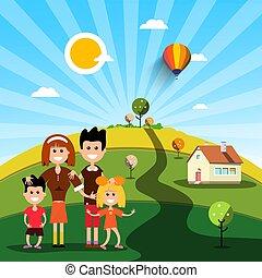 rodzina, dom, słoneczny, pole, dzień, szczęśliwy