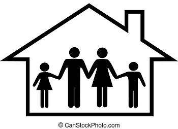 rodzina, dom, sejf, rodzice, dom, dzieci, szczęśliwy
