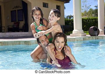 rodzina, dwa, interpretacja, szczęśliwy, dzieci, kałuża, pływacki