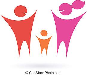 rodzina, ikona, współposiadanie, ludzie