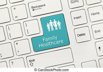 rodzina, klawiatura, -, key), healthcare, konceptualny, (blue, biały