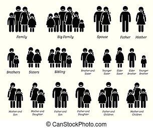 rodzina, ludzie, icons.