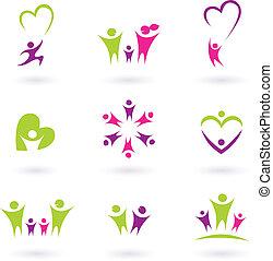 rodzina, ludzie, (, p, związek, ikona, zbiór, różowy, zielony