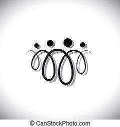 rodzina, ludzie, symbols(icons), abstrakcyjny, cztery, pętle, używając, kreska