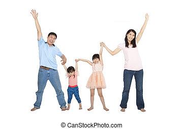 rodzina, odizolowany, asian, tło, biały, szczęśliwy