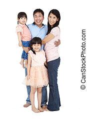 rodzina, odizolowany, razem, stać, tło, biały, szczęśliwy