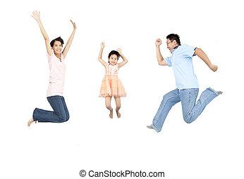 rodzina, odizolowany, skokowy, tło, biały, szczęśliwy