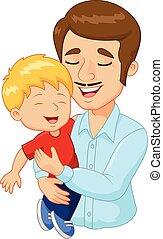 rodzina, ojciec, rysunek, dzierżawa, szczęśliwy