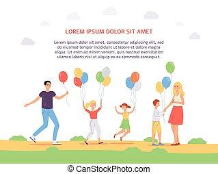 rodzina, płaski, balony, szczęśliwy, white., radość, skokowy, ilustracja, wektor