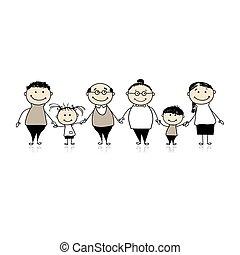 rodzina, -, razem, rodzice, dzieci, szczęśliwy