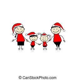 rodzina, razem, uśmiechanie się, święto, boże narodzenie, szczęśliwy